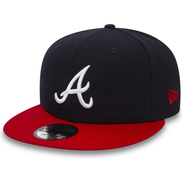 gorra-plana-negra-y-roja-snapback-9fifty-de-atlanta-braves-mlb-de-new-era