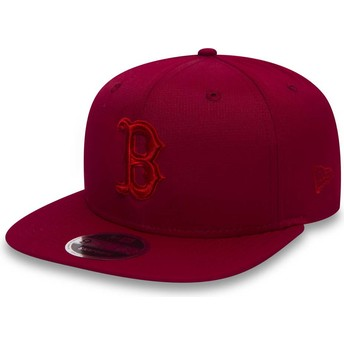 Gorra plana roja snapback con logo rojo 9FIFTY Nano Ripstop de Boston Red Sox MLB de New Era