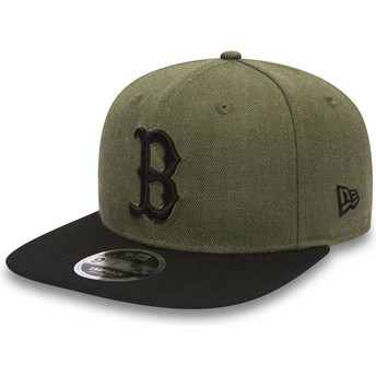Gorra plana verde snapback con logo y visera negra 9FIFTY Seasonal Heather de Boston Red Sox MLB de New Era