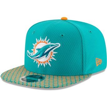 Gorra plana azul snapback 9FIFTY Sideline de Miami Dolphins NFL de New Era