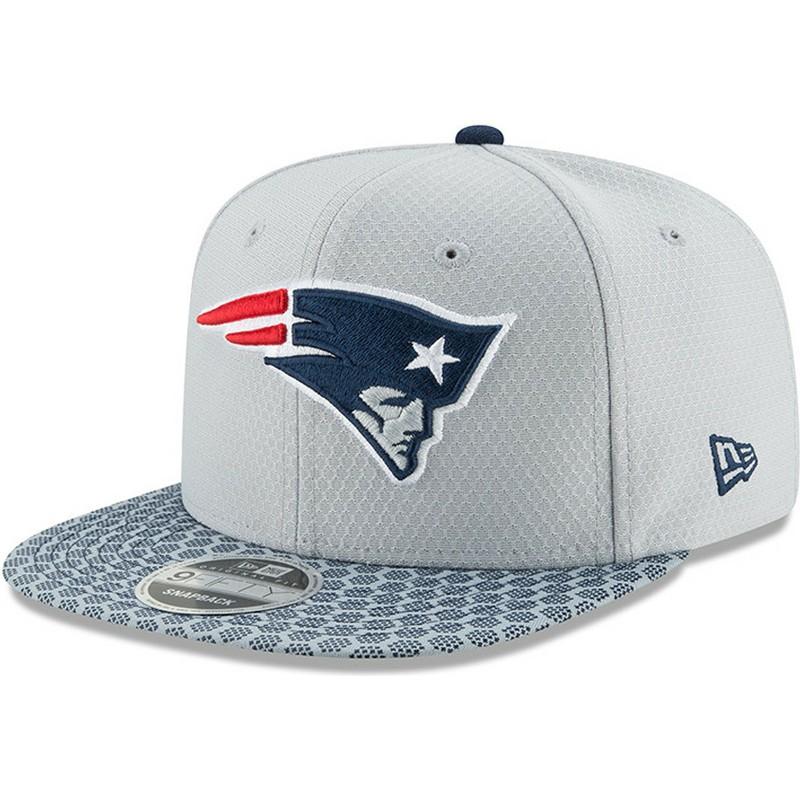 dd36f3695032d Gorra plana gris snapback 9FIFTY Sideline de New England Patriots ...