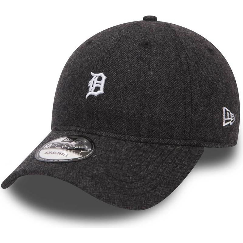 Gorra curva negra ajustable 9FORTY Herringbone de Detroit Tigers MLB ... 8ed9ee0af08