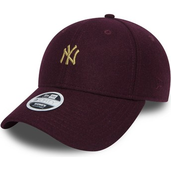 Gorra curva granate ajustable con logo oro 9FORTY Melton de New York Yankees MLB de New Era