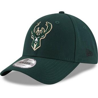 Gorra curva verde ajustable 9FORTY The League de Milwaukee Bucks NBA de New Era