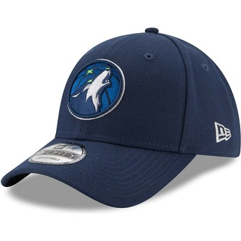 Gorra curva azul marino ajustable 9FORTY The League de Minnesota Timberwolves NBA de New Era