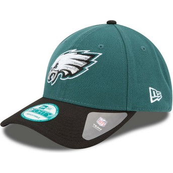 Gorra curva verde y negra ajustable 9FORTY The League de Philadelphia Eagles NFL de New Era