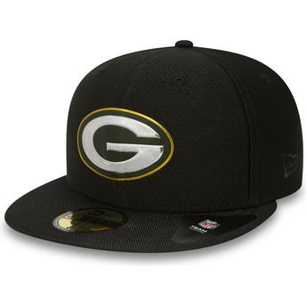 Gorra plana negra ajustada 59FIFTY Black Coll de Green Bay Packers NFL de New Era