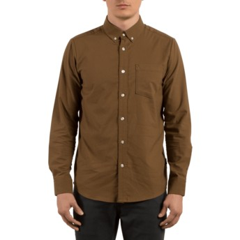 Camisa manga larga marrón Oxford Stretch Mud de Volcom