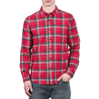 Camisa manga larga roja a cuadros Caden Deep Red de Volcom