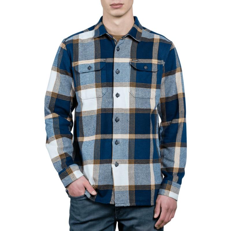 8c8af0674cf28 Camisa manga larga azul marino a cuadros Heavy Daze Indigo de Volcom ...