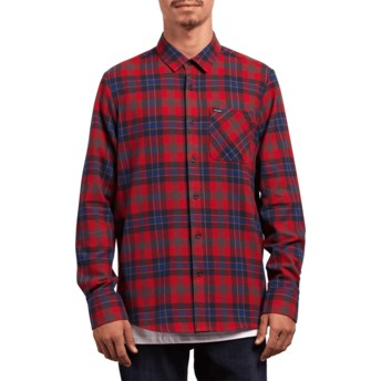 Camisa manga larga roja a cuadros Caden Plaid Engine Red de Volcom