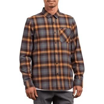 Camisa manga larga marrón y azul a cuadros Caden Plaid Espresso de Volcom
