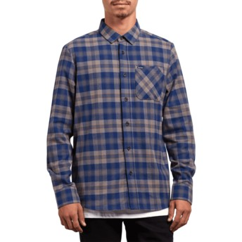 Camisa manga larga azul a cuadros Caden Plaid Matured Blue de Volcom