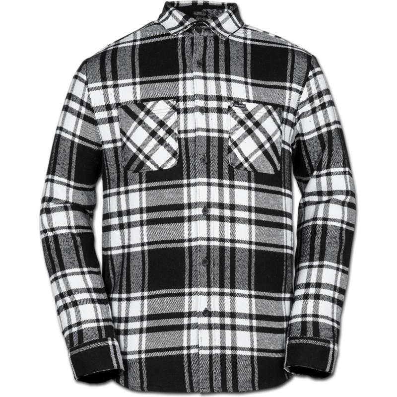 Camisa manga larga blanca y negra a cuadros Shader White de Volcom ... b9d5548802d6c