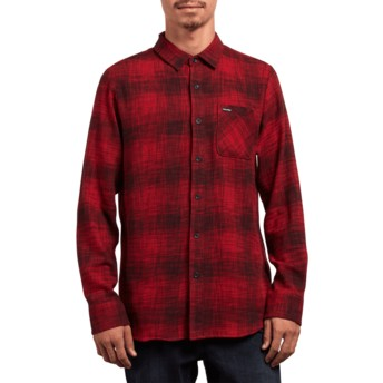 Camisa manga larga roja Buffalo Glitch Engine Red de Volcom
