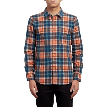 Camisa manga larga naranja y azul a cuadros Hayden Scream Red de Volcom