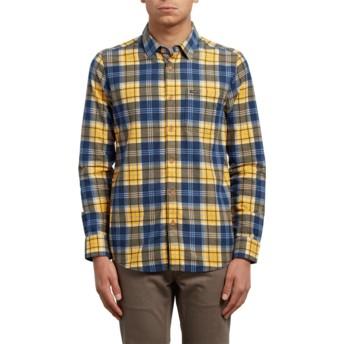 Camisa manga larga amarilla y azul a cuadros Hayden Tangerine de Volcom