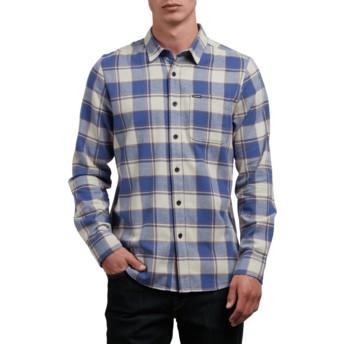 Camisa manga larga gris y azul a cuadros Caden Clay de Volcom