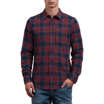 Camisa manga larga roja y azul marino a cuadros Caden Crimson de Volcom