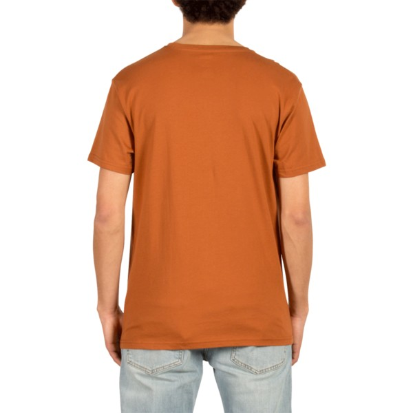 camiseta-manga-corta-marron-carving-block-copper-de-volcom
