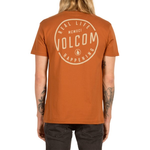 camiseta-manga-corta-marron-on-lock-copper-de-volcom