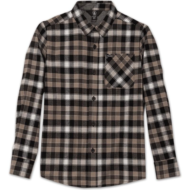 d1c5107646ba2 Camisa manga larga negra a cuadros para niño Caden Plaid Black de ...