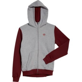 Sudadera con capucha y cremallera gris y roja para niño Single Stone Division Grey de Volcom