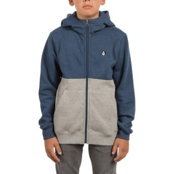 Sudadera con capucha y cremallera azul y gris para niño Single Stone Division Smokey Blue de Volcom