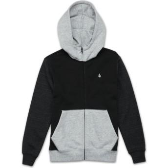 Sudadera con capucha y cremallera negra y gris para niño Single Stone Colorblock Black de Volcom