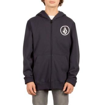 Sudadera con capucha y cremallera azul marino para niño Stone Navy de Volcom