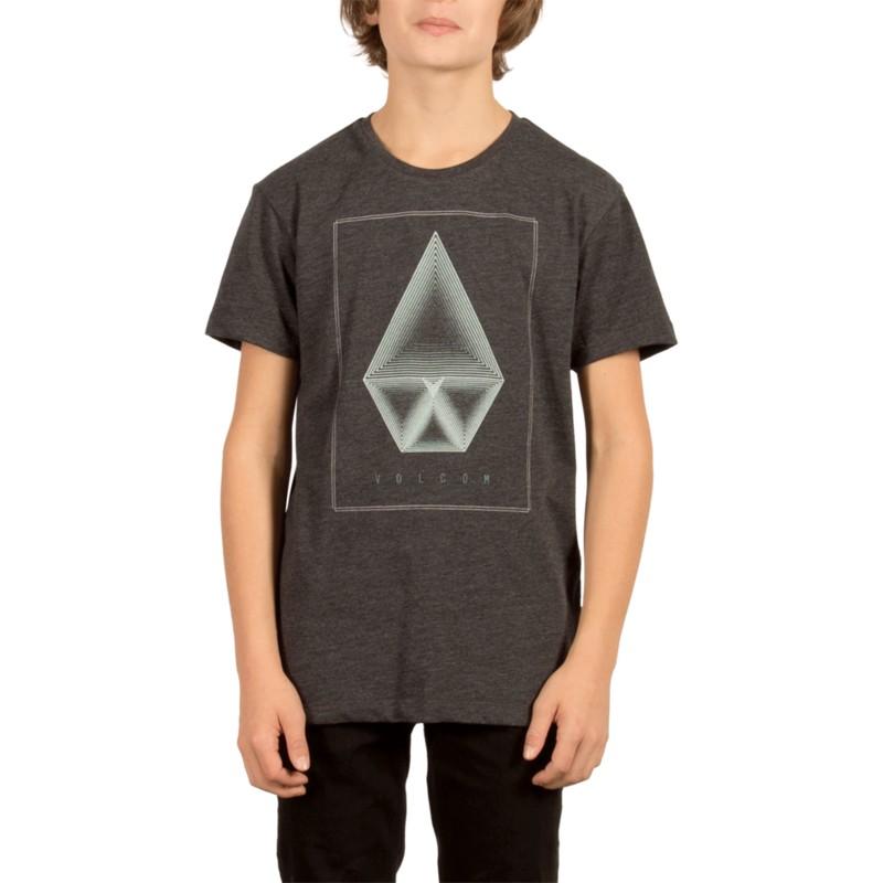 54d0ac3203d Camiseta manga corta negra para niño Concentric Heather Black de ...