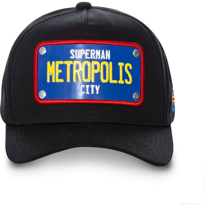 Gorra curva negra snapback con placa Superman Metropolis City SUP1 ... e420f41bcf3