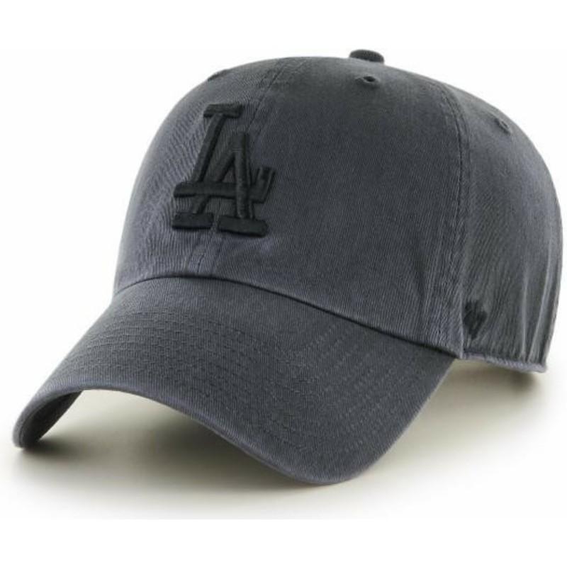 77a803f943d21 Gorra curva negra con logo negro de Los Angeles Dodgers MLB Clean Up ...