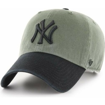 Gorra curva verde con visera y logo negro de New York Yankees MLB Clean Up Two Tone de 47 Brand
