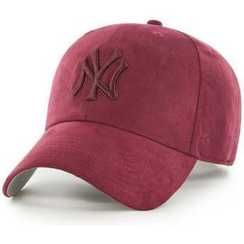 Gorra curva granate con logo granate de New York Yankees MLB Clean Up Ultra Basic de 47 Brand