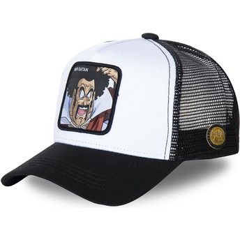 Gorra trucker blanca y negra Mr. Satan SAT1 Dragon Ball de Capslab