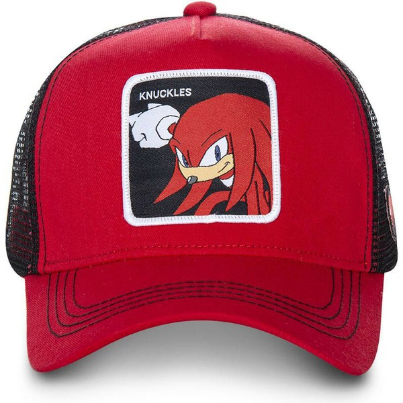 Gorra trucker roja y negra Knuckles the Echidna KNU Sonic the ... 25a7348cfae