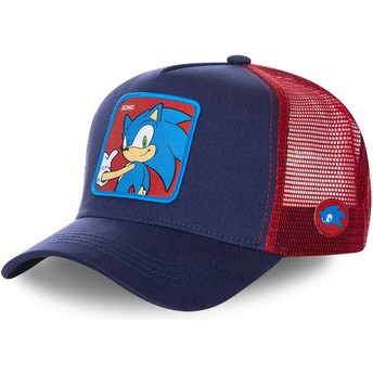 Gorra trucker azul marino y roja Sonic SO1 Sonic the Hedgehog de Capslab