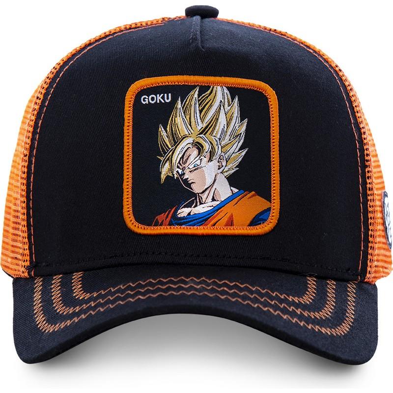 Gorra Trucker Negra Y Naranja Son Goku Super Saiyan GO3