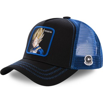 Gorra trucker negra y azul Vegeta Super Saiyan VE3 Dragon Ball de Capslab
