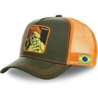 Gorra trucker verde y naranja Blanka BLA Street Fighter de Capslab