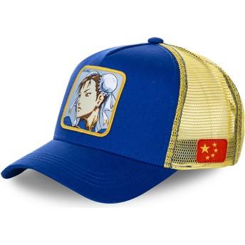 Gorra trucker azul y amarilla Chun-Li CHU Street Fighter de Capslab