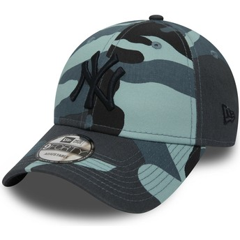 Gorra curva camuflaje azul ajustable con logo negro 9FORTY Essential de New York Yankees MLB de New Era