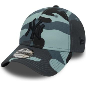 Gorra curva camuflaje azul ajustable con logo negro 9FORTY Essential de New York Yankees MLB de New Era