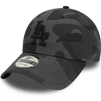 Gorra curva camuflaje negro ajustable con logo negro 9FORTY Essential de Los Angeles Dodgers MLB de New Era