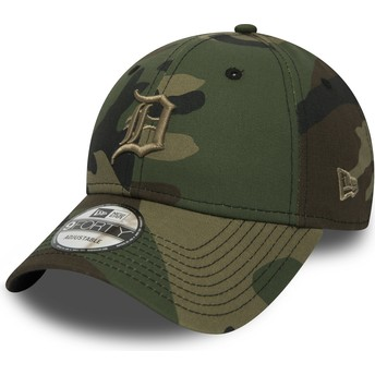 Gorra curva camuflaje ajustable con logo marrón 9FORTY Essential de Detroit Tigers MLB de New Era