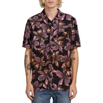 Camisa manga corta negra con flores Resorto Vallarta Neon Pink de Volcom