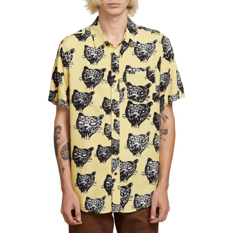 c345f492b Camisa manga corta amarilla Ozzie Cat Lime de Volcom  comprar online ...