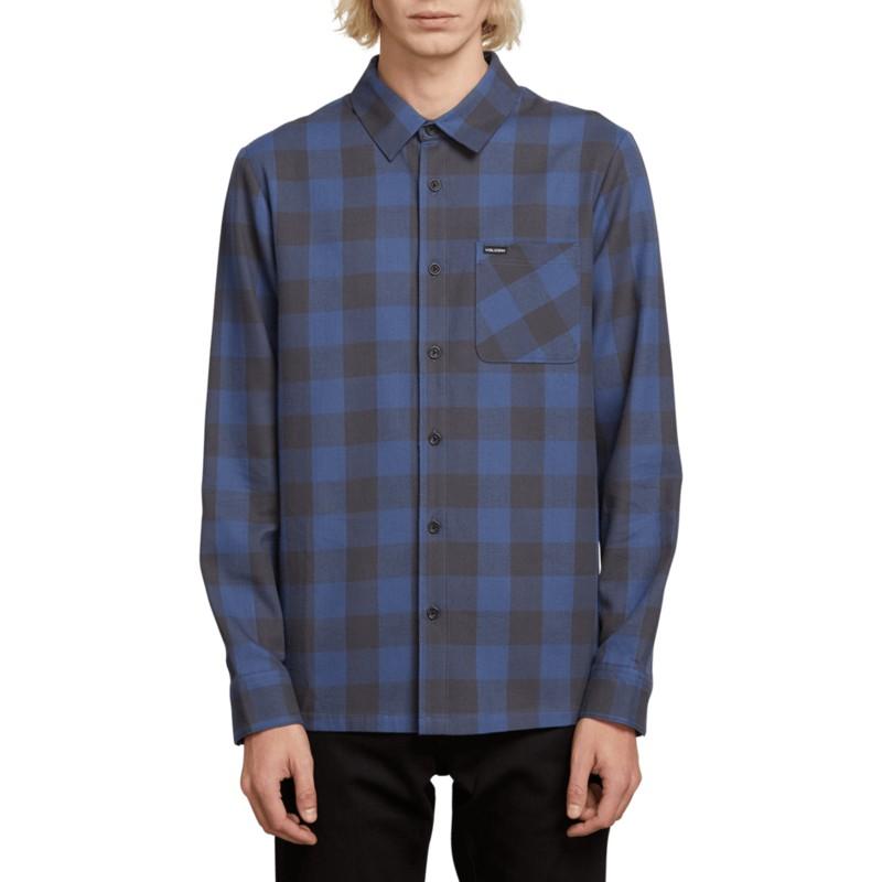d9ea1370b853d Camisa manga larga azul marino a cuadros Joneze Indigo de Volcom ...