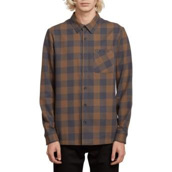 Camisa manga larga azul y marrón a cuadros Joneze Mushroom de Volcom